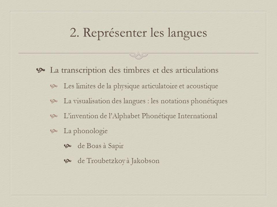 2. Représenter les langues La transcription des timbres et des articulations Les limites de la physique articulatoire et acoustique La visualisation d