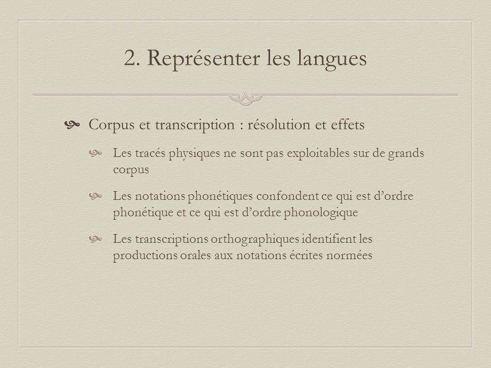 2. Représenter les langues Corpus et transcription : résolution et effets Les tracés physiques ne sont pas exploitables sur de grands corpus Les notat