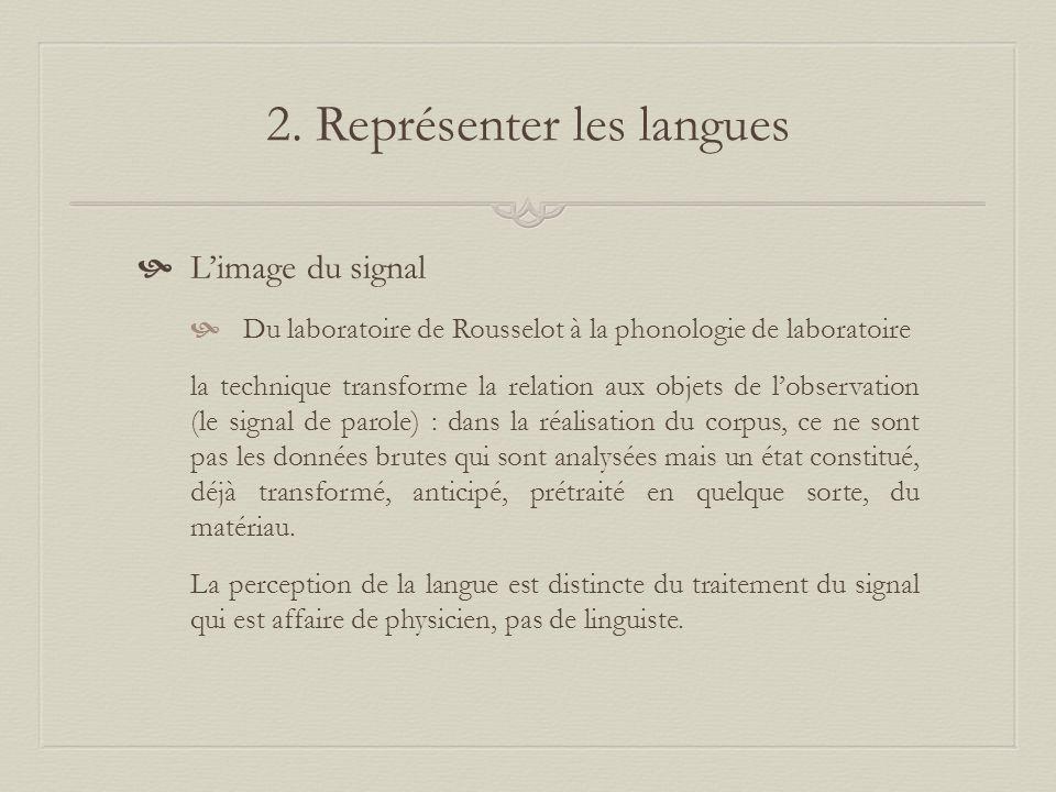 2. Représenter les langues Limage du signal Du laboratoire de Rousselot à la phonologie de laboratoire la technique transforme la relation aux objets
