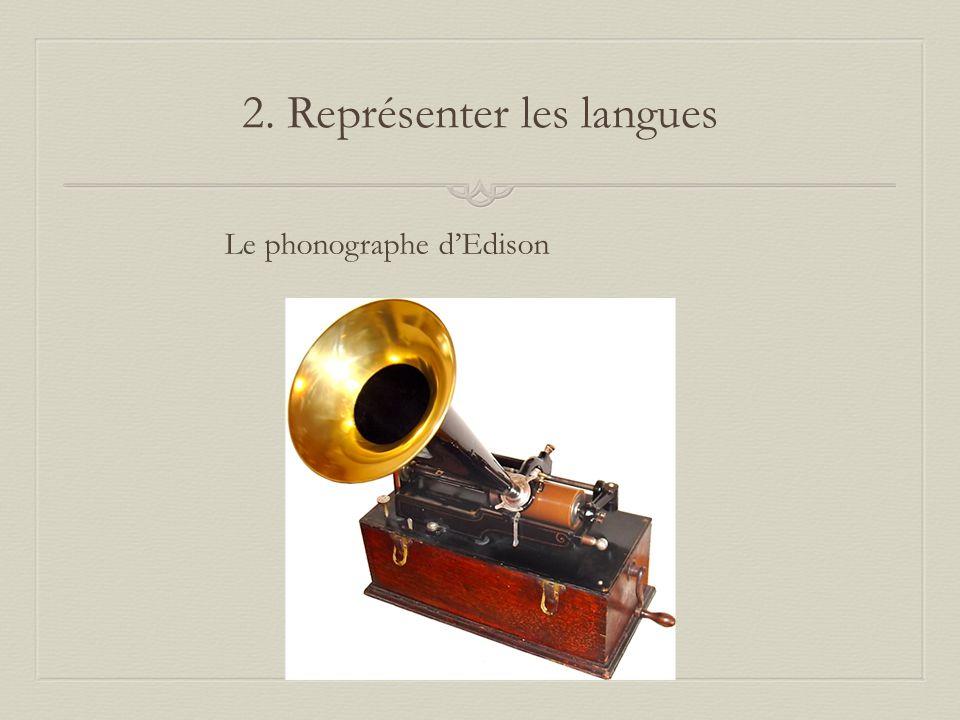 2. Représenter les langues Le phonographe dEdison