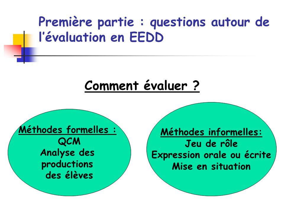 Comment évaluer ? Première partie : questions autour de lévaluation en EEDD Méthodes formelles : QCM Analyse des productions des élèves Méthodes infor