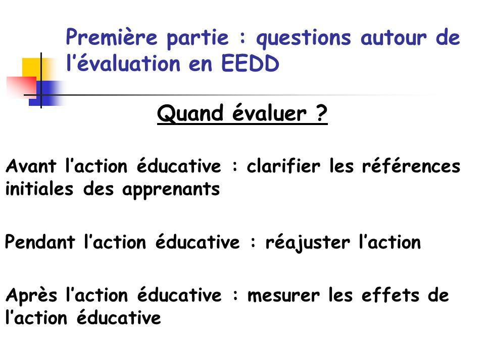 Quand évaluer ? Première partie : questions autour de lévaluation en EEDD Avant laction éducative : clarifier les références initiales des apprenants