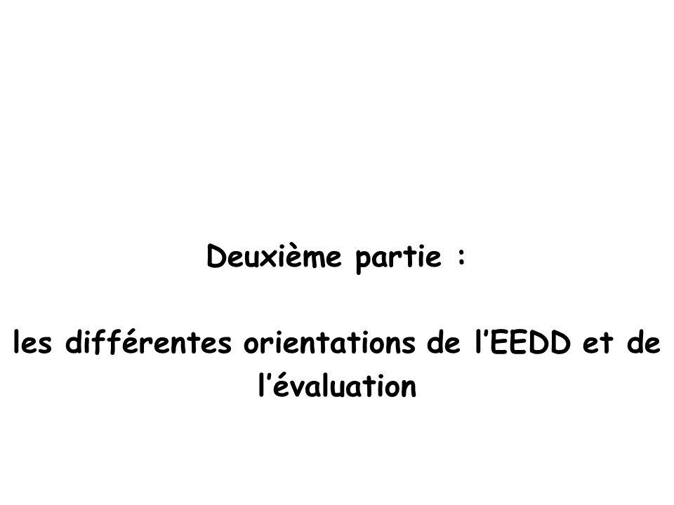 Deuxième partie : les différentes orientations de lEEDD et de lévaluation