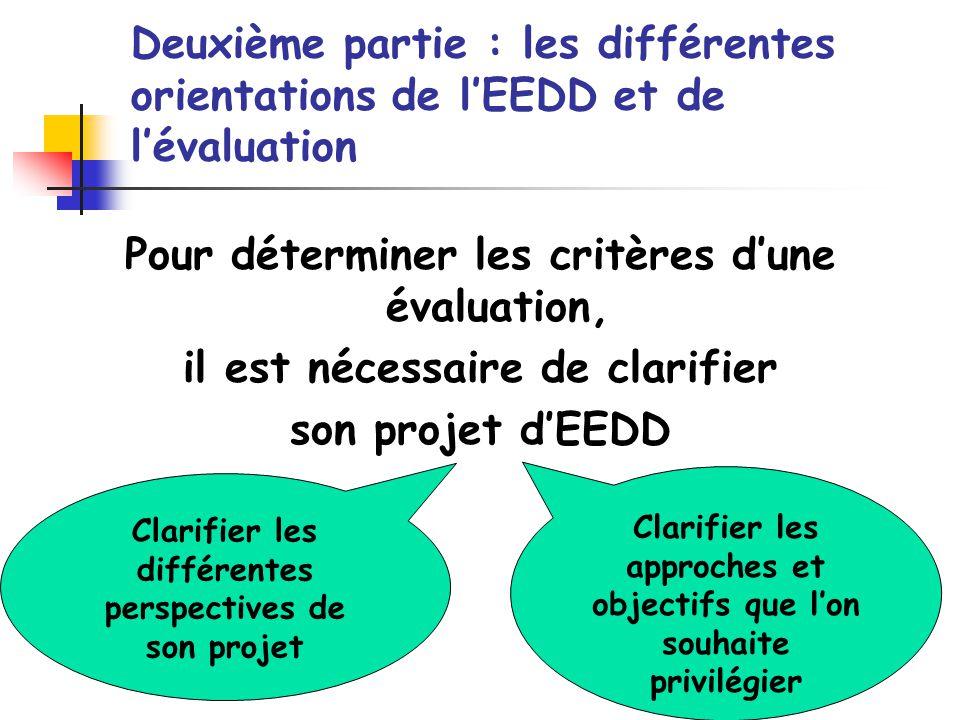 Deuxième partie : les différentes orientations de lEEDD et de lévaluation Pour déterminer les critères dune évaluation, il est nécessaire de clarifier