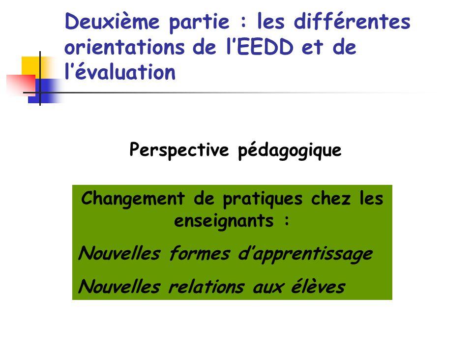 Changement de pratiques chez les enseignants : Nouvelles formes dapprentissage Nouvelles relations aux élèves Perspective pédagogique Deuxième partie