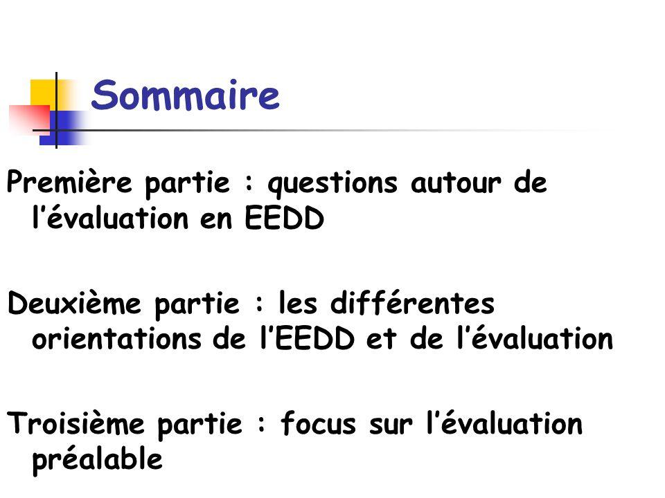 Deuxième partie : les différentes orientations de lEEDD et de lévaluation Pour déterminer les critères dune évaluation, il est nécessaire de clarifier son projet dEEDD Clarifier les différentes perspectives de son projet Clarifier les approches et objectifs que lon souhaite privilégier