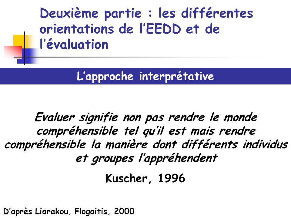 Deuxième partie : les différentes orientations de lEEDD et de lévaluation Lapproche interprétative Evaluer signifie non pas rendre le monde compréhens