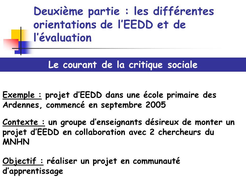 Deuxième partie : les différentes orientations de lEEDD et de lévaluation Le courant de la critique sociale Exemple : projet dEEDD dans une école prim