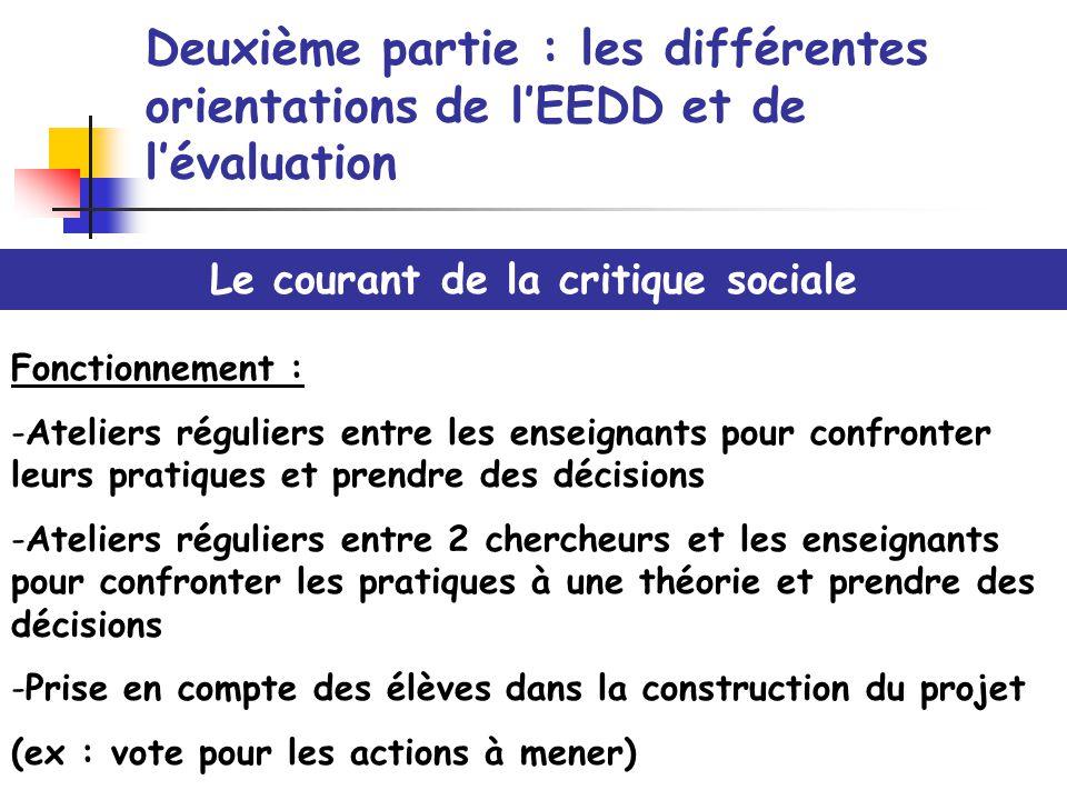 Deuxième partie : les différentes orientations de lEEDD et de lévaluation Le courant de la critique sociale Fonctionnement : -Ateliers réguliers entre