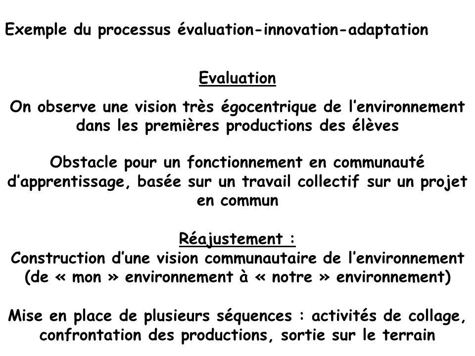 Exemple du processus évaluation-innovation-adaptation Evaluation On observe une vision très égocentrique de lenvironnement dans les premières producti