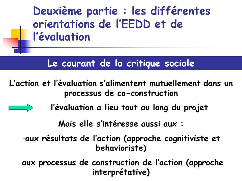 Deuxième partie : les différentes orientations de lEEDD et de lévaluation Le courant de la critique sociale Laction et lévaluation salimentent mutuell