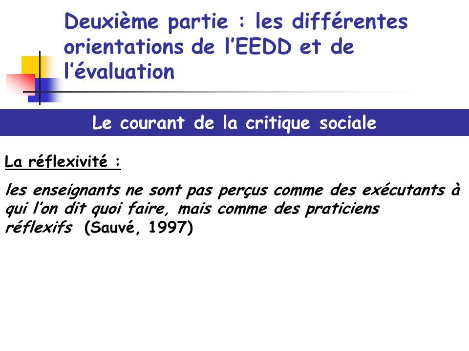 Deuxième partie : les différentes orientations de lEEDD et de lévaluation Le courant de la critique sociale La réflexivité : les enseignants ne sont p