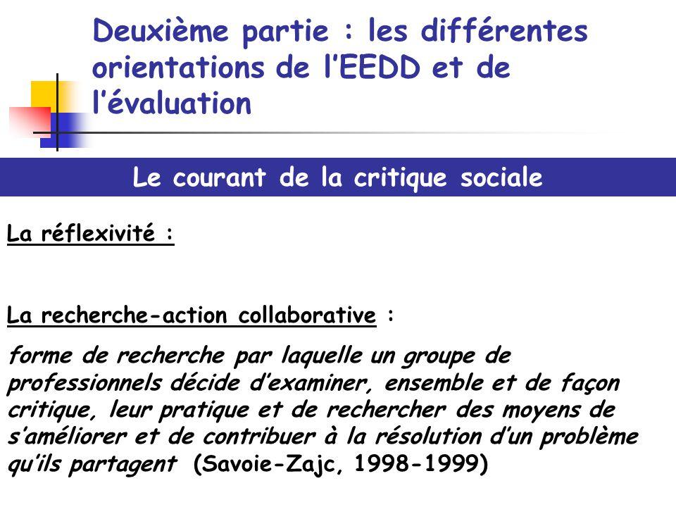 Deuxième partie : les différentes orientations de lEEDD et de lévaluation Le courant de la critique sociale La réflexivité : La recherche-action colla