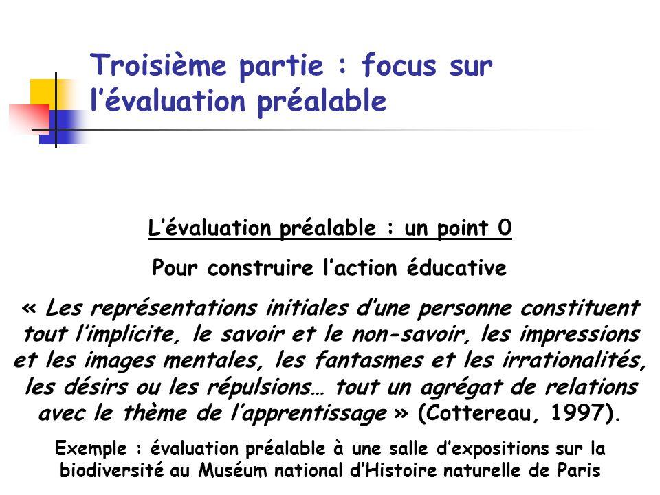 Troisième partie : focus sur lévaluation préalable Lévaluation préalable : un point 0 Pour construire laction éducative « Les représentations initiale