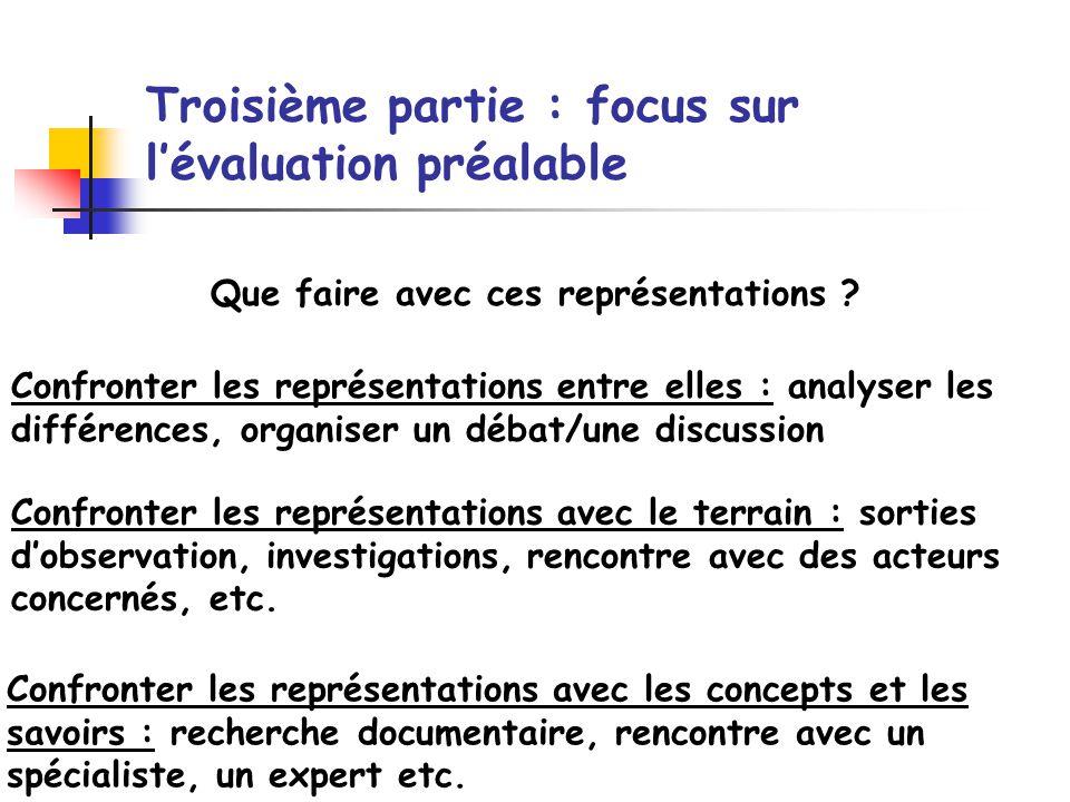Troisième partie : focus sur lévaluation préalable Confronter les représentations entre elles : analyser les différences, organiser un débat/une discu