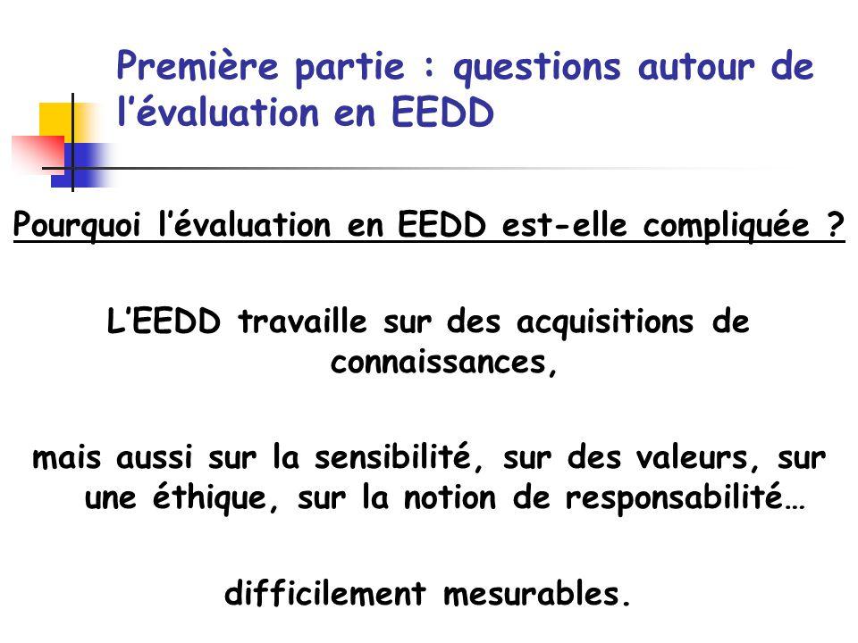 Pourquoi lévaluation en EEDD est-elle compliquée ? LEEDD travaille sur des acquisitions de connaissances, mais aussi sur la sensibilité, sur des valeu