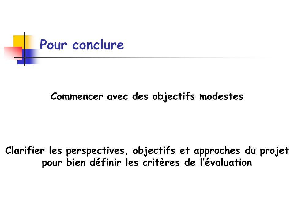 Pour conclure Commencer avec des objectifs modestes Clarifier les perspectives, objectifs et approches du projet pour bien définir les critères de lév