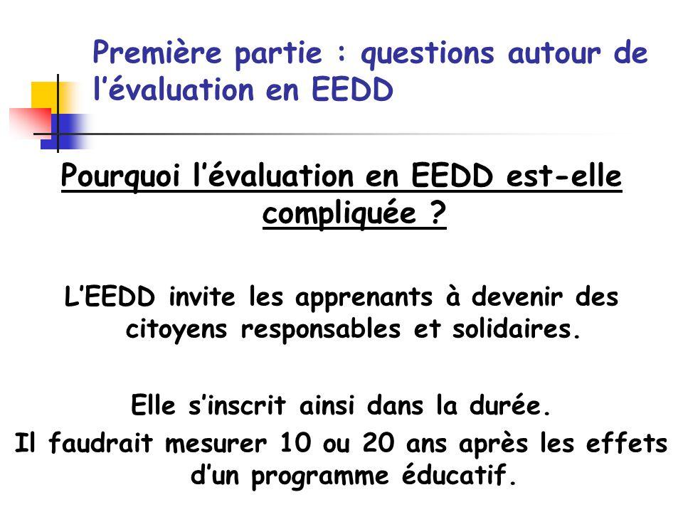 Pourquoi lévaluation en EEDD est-elle compliquée ? LEEDD invite les apprenants à devenir des citoyens responsables et solidaires. Elle sinscrit ainsi
