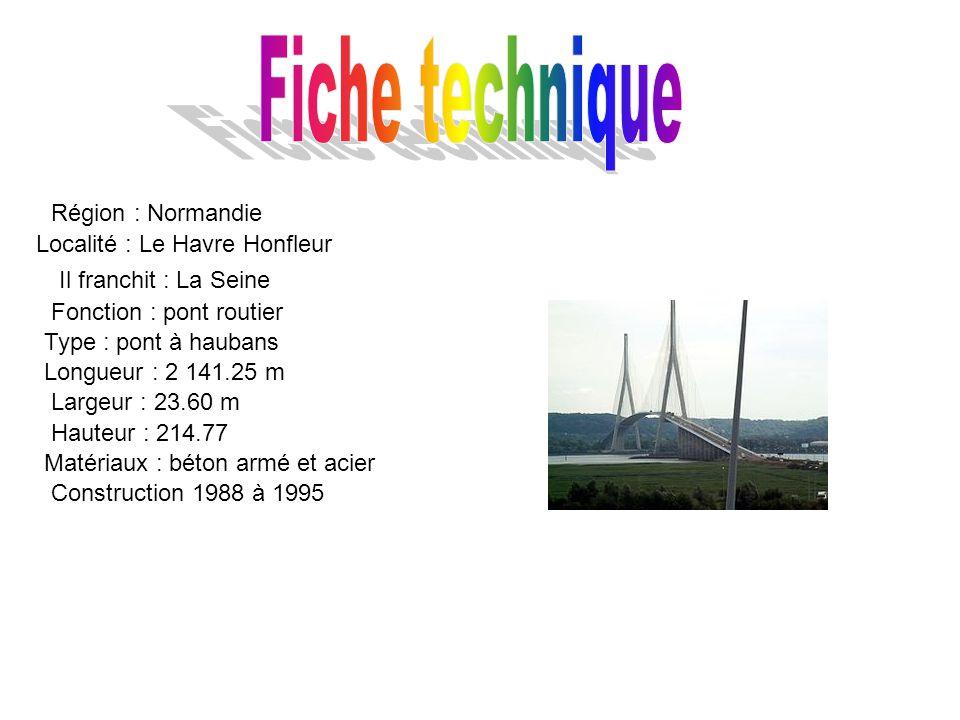 Région : Normandie Localité : Le Havre Honfleur Il franchit : La Seine Fonction : pont routier Type : pont à haubans Longueur : 2 141.25 m Largeur : 23.60 m Hauteur : 214.77 Matériaux : béton armé et acier Construction 1988 à 1995