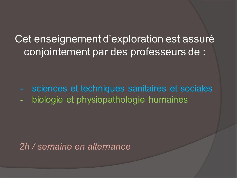 Cet enseignement dexploration est assuré conjointement par des professeurs de : -sciences et techniques sanitaires et sociales -biologie et physiopathologie humaines 2h / semaine en alternance