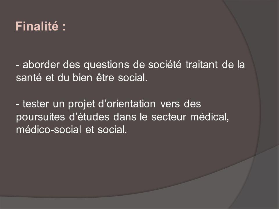 Finalité : - aborder des questions de société traitant de la santé et du bien être social. - tester un projet dorientation vers des poursuites détudes