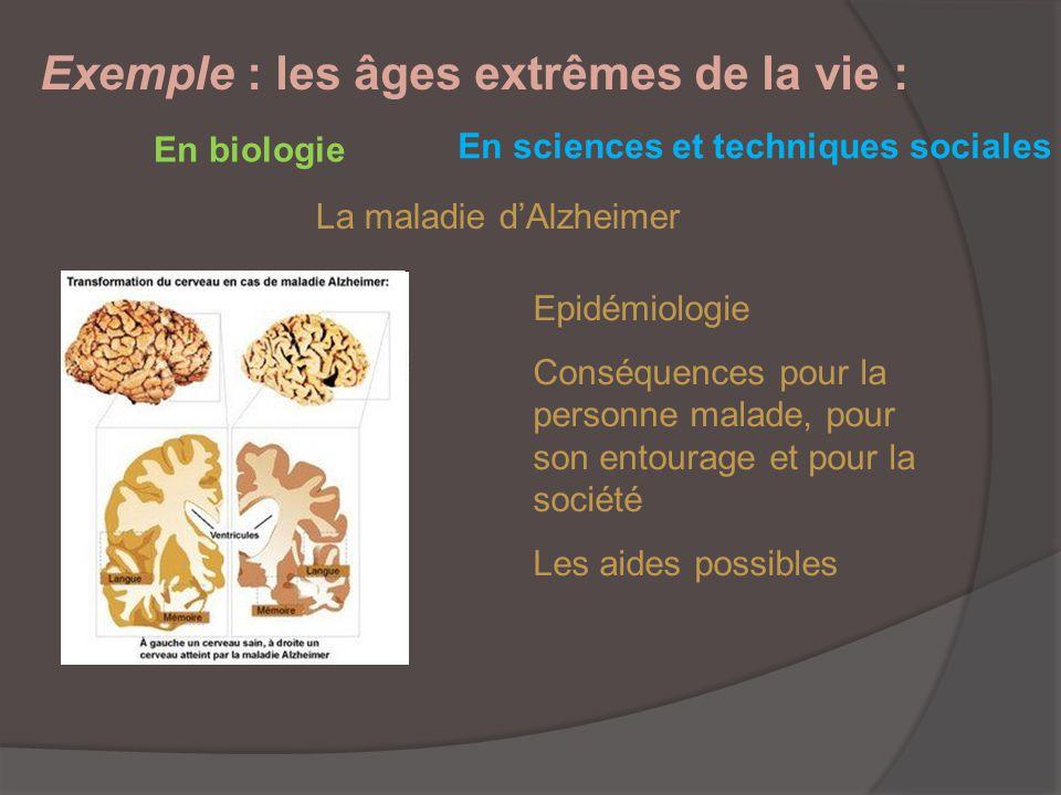 Exemple : les âges extrêmes de la vie : En biologie La maladie dAlzheimer En sciences et techniques sociales Epidémiologie Conséquences pour la person