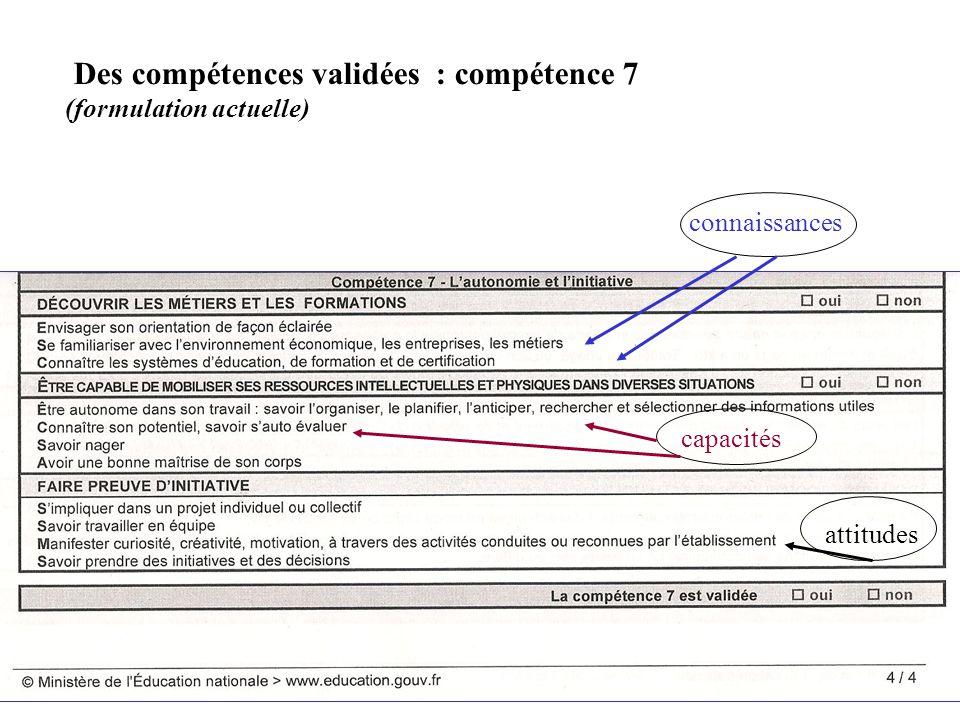 connaissances capacités attitudes Des compétences validées : compétence 7 (formulation actuelle)