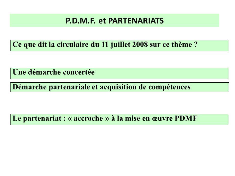 P.D.M.F. et PARTENARIATS Le partenariat : « accroche » à la mise en œuvre PDMF Ce que dit la circulaire du 11 juillet 2008 sur ce thème ? Une démarche