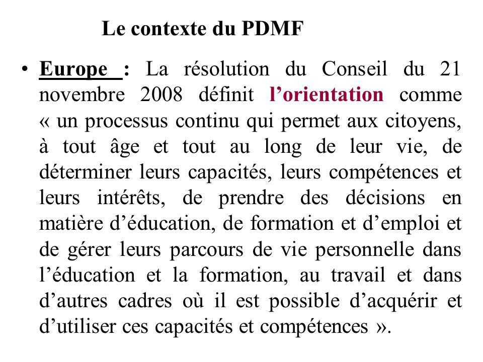 Europe : La résolution du Conseil du 21 novembre 2008 définit lorientation comme « un processus continu qui permet aux citoyens, à tout âge et tout au