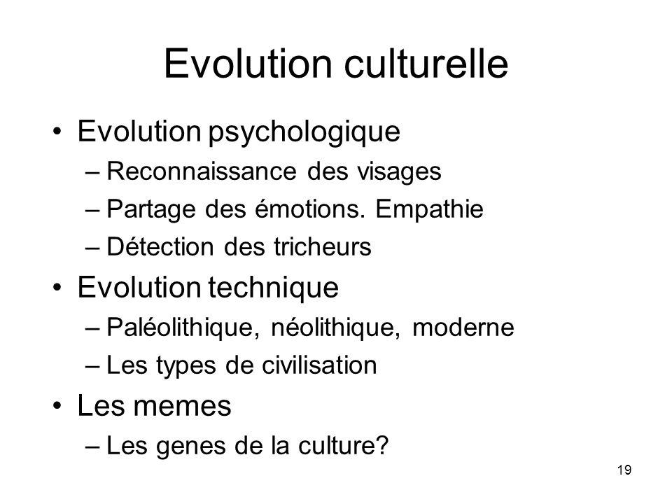19 Evolution culturelle Evolution psychologique –Reconnaissance des visages –Partage des émotions.
