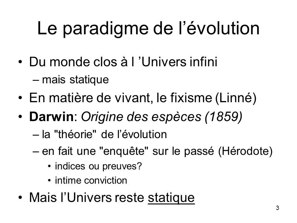 3 Le paradigme de lévolution Du monde clos à l Univers infini –mais statique En matière de vivant, le fixisme (Linné) Darwin: Origine des espèces (1859) –la théorie de lévolution –en fait une enquête sur le passé (Hérodote) indices ou preuves.