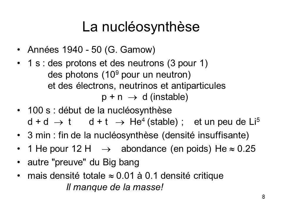 8 La nucléosynthèse Années 1940 - 50 (G.