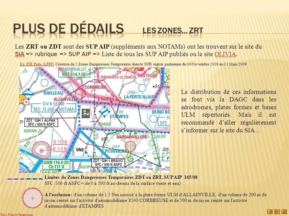 Limites de Zones Dangereuses Temporaires ZDT ou ZRT, SUP AIP 165/08 SFC /500 ft ASFC = de 0 à 500 ft au-dessus de la surface (terre et eau) A lexclusion: d un volume de 1.5 Nm associé à la plate-forme ULM d ALLAINVILLE, d un volume de 200 m de rayon centré sur l activité d aéromodélisme 8540 CORBREUSE et de 500 m de rayon centré sur l activité d aéromodélisme d ETAMPES Paris France Paramoteur Les ZRT ou ZDT sont des SUP AIP (suppléments aux NOTAMs) ont les trouvent sur le site du SIA => rubrique => SUP AIP => Liste de tous les SUP AIP publiés ou le site OLIVIA.