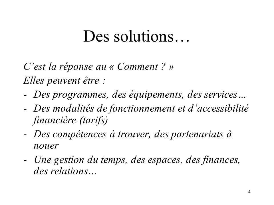 4 Des solutions… Cest la réponse au « Comment ? » Elles peuvent être : -Des programmes, des équipements, des services… -Des modalités de fonctionnemen