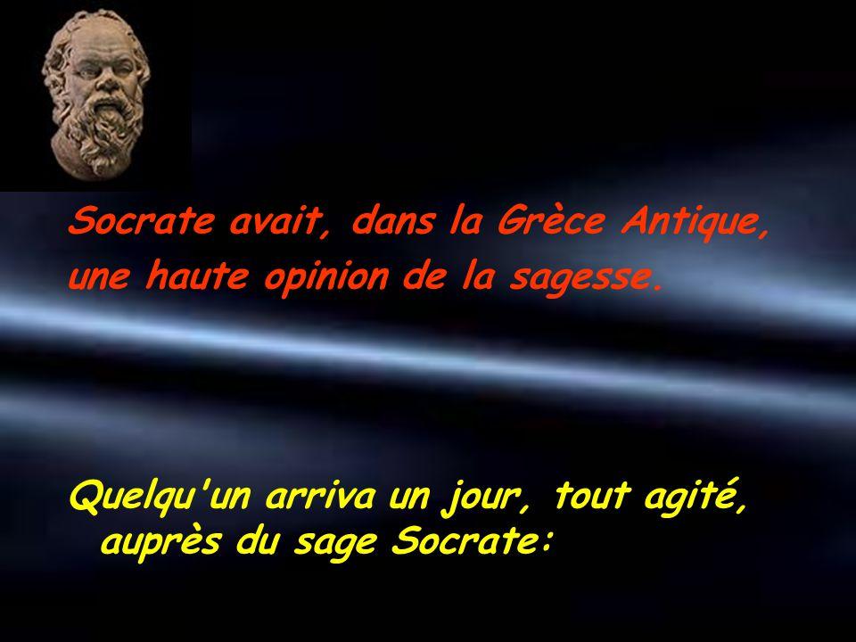 Socrate avait, dans la Grèce Antique, une haute opinion de la sagesse. Quelqu'un arriva un jour, tout agité, auprès du sage Socrate: