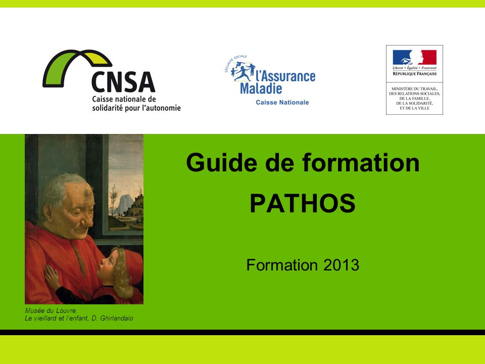 Guide de formation PATHOS - Formation nationale 2013 2 Guide de formation élaboré par les auteurs du « MODÈLE PATHOS » M.