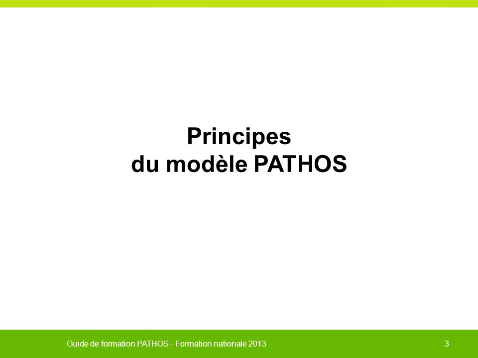 Guide de formation PATHOS - Formation nationale 2013 24 Profil R1 = RRF intensive individuelle