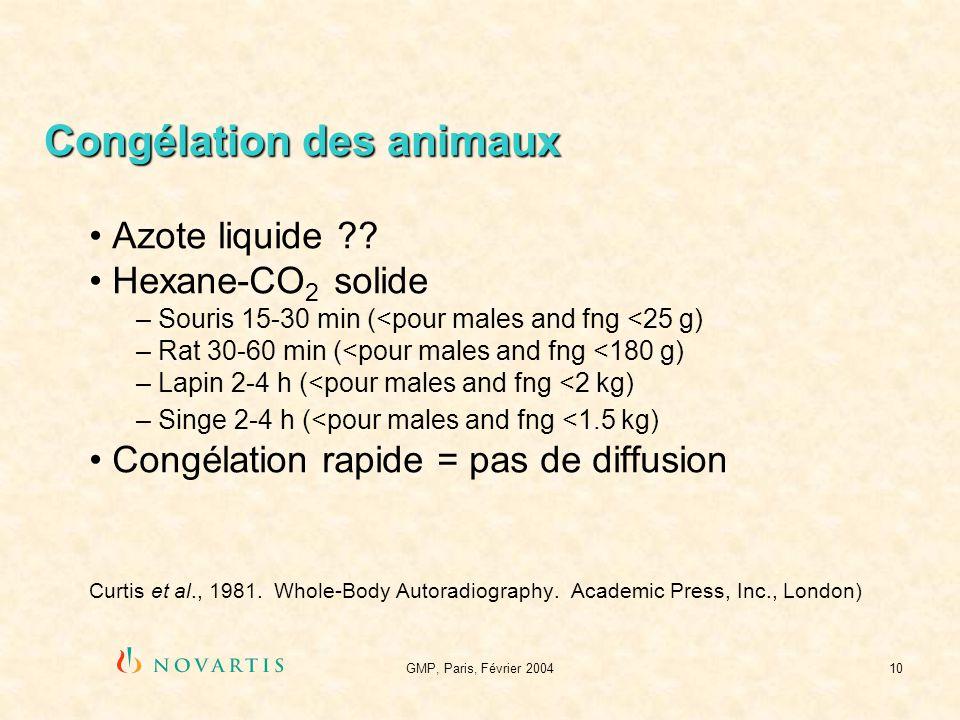GMP, Paris, Février 200410 Congélation des animaux Azote liquide ?? Hexane-CO 2 solide – Souris 15-30 min (<pour males and fng <25 g) – Rat 30-60 min
