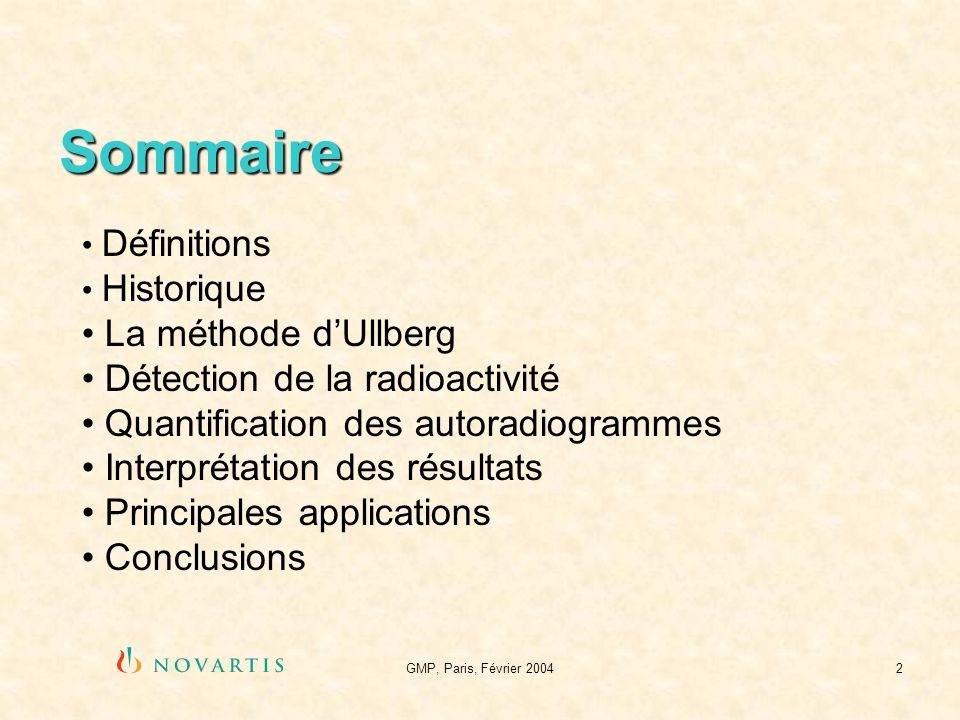 GMP, Paris, Février 20042 Sommaire Définitions Historique La méthode dUllberg Détection de la radioactivité Quantification des autoradiogrammes Interp