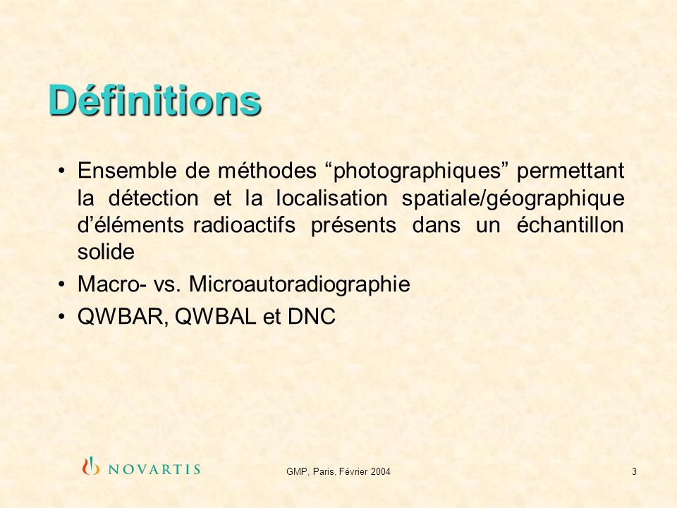 GMP, Paris, Février 20043 Définitions Ensemble de méthodes photographiques permettant la détection et la localisation spatiale/géographique déléments