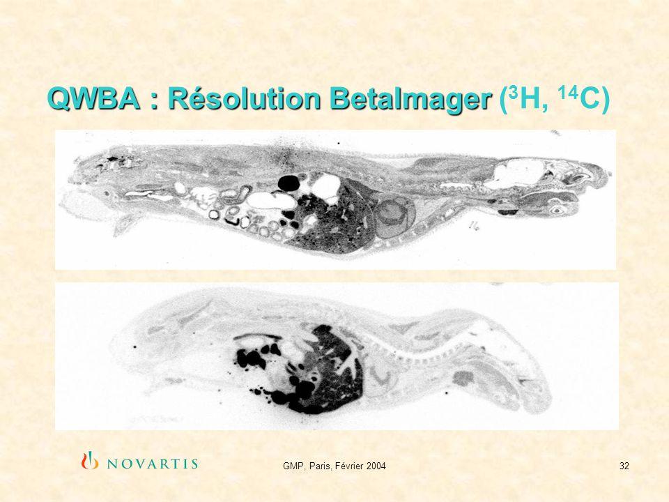 GMP, Paris, Février 200432 QWBA : Résolution BetaImager QWBA : Résolution BetaImager ( 3 H, 14 C)