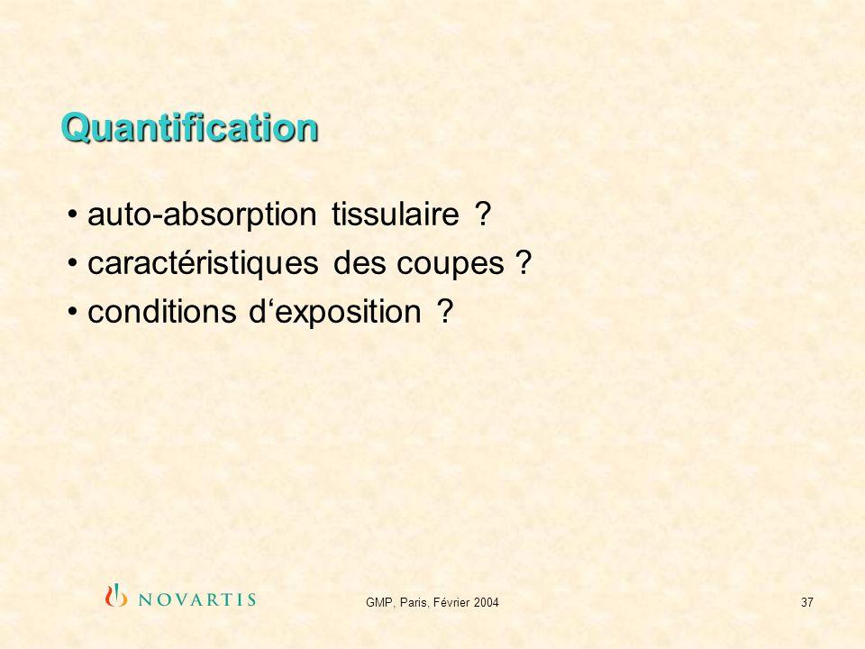 GMP, Paris, Février 200437 Quantification auto-absorption tissulaire ? caractéristiques des coupes ? conditions dexposition ?