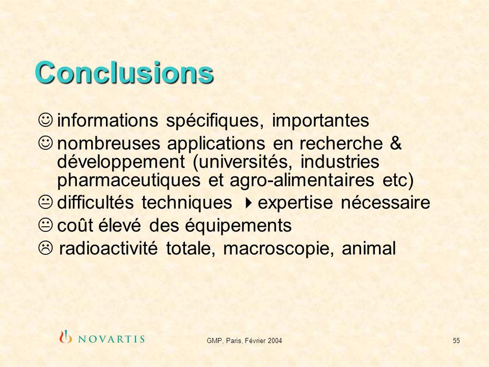 GMP, Paris, Février 200455 Conclusions informations spécifiques, importantes nombreuses applications en recherche & développement (universités, indust