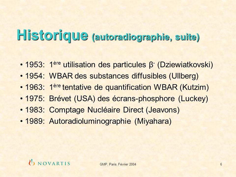 GMP, Paris, Février 20047 Historique (coupes danimaux entiers) 1947 (Libby) : scie à ruban, 2-3 mm, souris 1954 (Ullberg) : microtome, 100 µm, en chambre froide 1959 (Cohen et al.) : microtome à congélation (CO 2 ) 1961 (Pellerin) : rape/fraise datelier, seulement 1 WBA 1962 (Martin et al.) : disque abrasif/perceuse, souris 1966 (Kalberer) : scie circulaire, 2-4 mm, chat, singe 1977 (Ullberg) : cryomicrotome, méthode actuelle