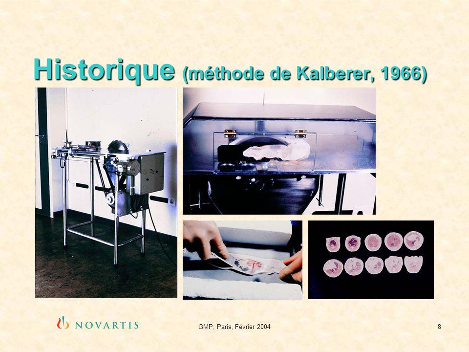 GMP, Paris, Février 20049 La méthode dUllberg Congélation Enrobage Trimming Obtention des coupes Cryodessication