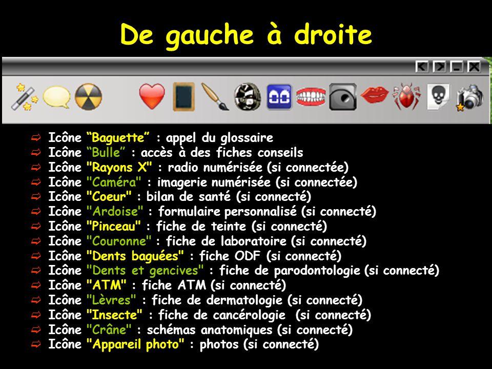 De gauche à droite Icône Baguette : appel du glossaire Icône Bulle : accès à des fiches conseils Icône