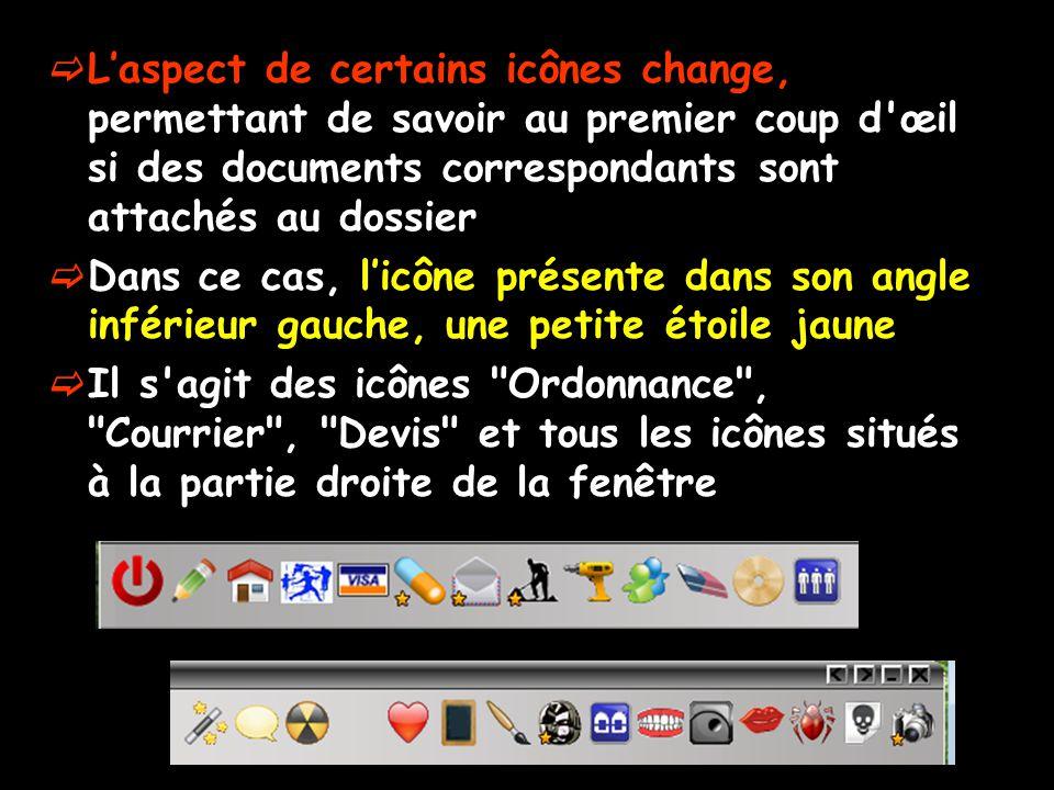 Laspect de certains icônes change, permettant de savoir au premier coup d'œil si des documents correspondants sont attachés au dossier Dans ce cas, li