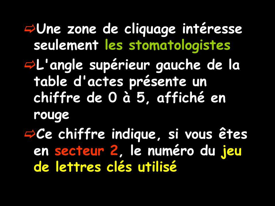 Une zone de cliquage intéresse seulement les stomatologistes L'angle supérieur gauche de la table d'actes présente un chiffre de 0 à 5, affiché en rou