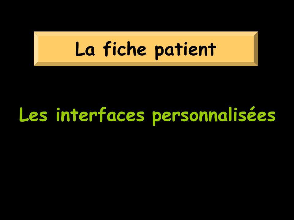 Les interfaces personnalisées La fiche patient