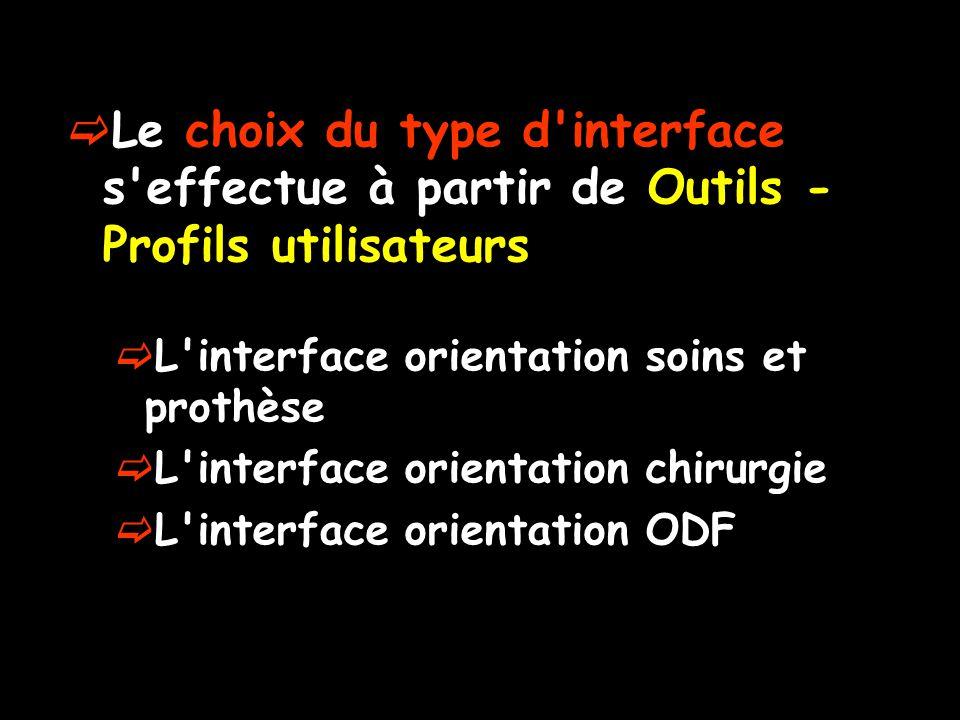 Le choix du type d interface s effectue à partir de Outils - Profils utilisateurs L interface orientation soins et prothèse L interface orientation chirurgie L interface orientation ODF